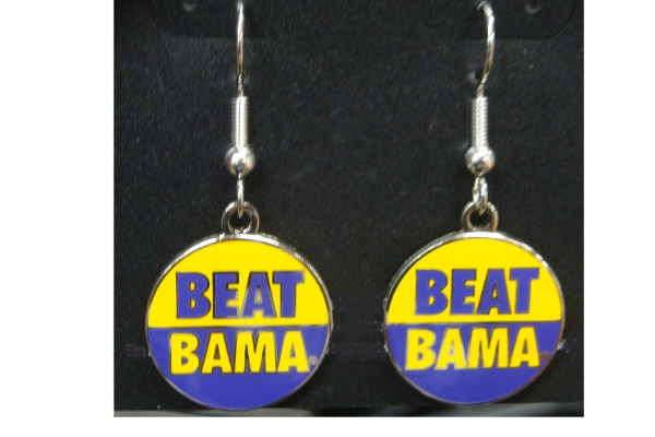 LSU Tigers Beat Bama Silver French Wire Earrings