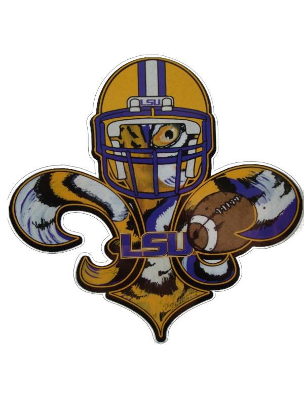 LSU Tigers Touchdown Football Fleur de Lis Decal