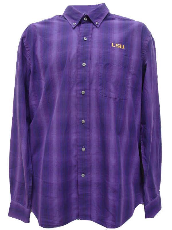 Cutter & Buck LSU Tigers Men's Plaid Long Sleeve Button Up Shirt - Purple