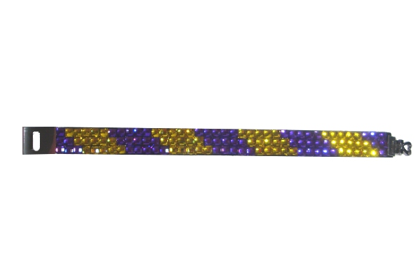 "Purple and Gold 7"" Rhinestone Bracelet"