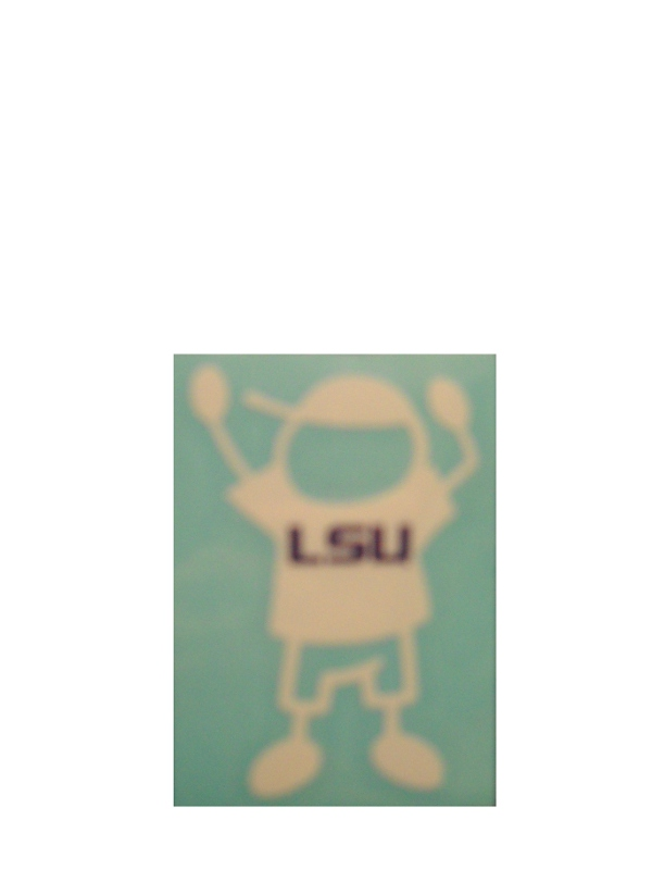 "LSU Tiger Boy White Decal 2""x3"""