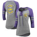 LSU Women's Grey & Purple Lace Up 3/4 Sleeve Top