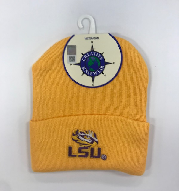 LSU Tigers New Born Knit Cap - Gold