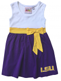 LSU Tigers Toddler Girls Babydoll Bowtie Dress - Purple, Gold & White