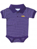 LSU Tigers Infant Striped Onesie Polo - Purple and White