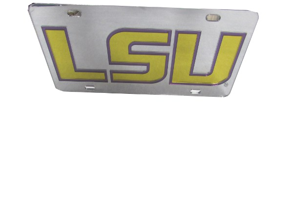 LSU Tigers Silver, Purple, and Gold Acrylic Laser Cut Logo License Plate