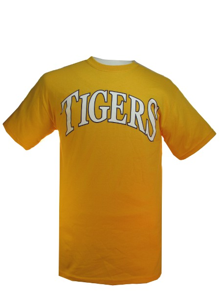 LSU Tigers Gold Arched Tigers T-Shirt by Bayou Apparel