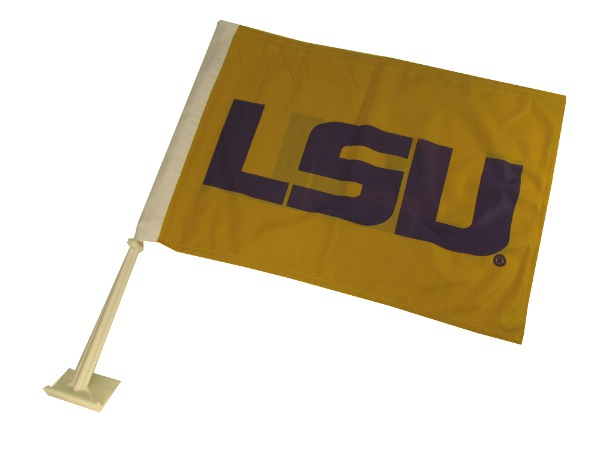 LSU Tigers Gold Car Flag Geaux Font Double Sided
