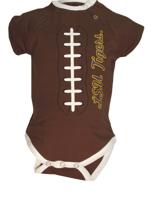 LSU Tigers INFANT Brown Football Onesie
