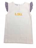 LSU Tigers Child Girl's Ruffled Cap Sleeve Top - White