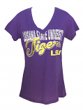 LSU Women's 1st Down V-Neck Foil Tee - Purple