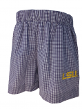 LSU Infant/Toddler  Checked Embroidered Shorts - Purple & White