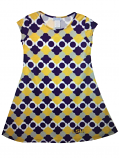 LSU Girl's Youth Vivi Cap Sleeve Poly Dress - Purple, Gold & White