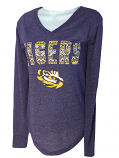 LSU Women's Long Sleeve V-Neck Aztec Favorite Tee - Purple