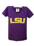 LSU Toddler Vintage Short Sleeve V-Neck Cotton T-Shirt - Purple