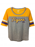LSU Youth Girl's Fantastic Football Style Top - Grey & Gold