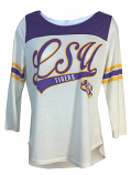LSU Women's End Zone 3/4 Sleeve Top - White