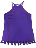 Boutique Women's Karen Game Day Tasseled Halter Top - Purple