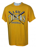 LSU Men's Bayou Cross Bats Cotton Baseball T-Shirt - Gold
