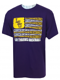 LSU Men's Bayou Short Sleeve Ultra Cotton Baseball Bat Flag T-Shirt - Purple