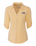 LSU Women's Gold & White Academy Stripe Button Up Top