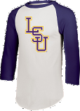 LSU Bayou Men's Raglan Sleeve Baseball Tee