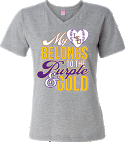 LSU Bayou Women's Grey My Heart Baseball V-Neck Tee
