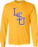 LSU Bayou Gold Long Sleeve Baseball at the Box Cotton T-Shirt