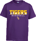 LSU Bayou Youth Purple Play Baseball Tee
