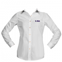 LSU Women's Antigua Dynasty White Long Sleeve Button Shirt