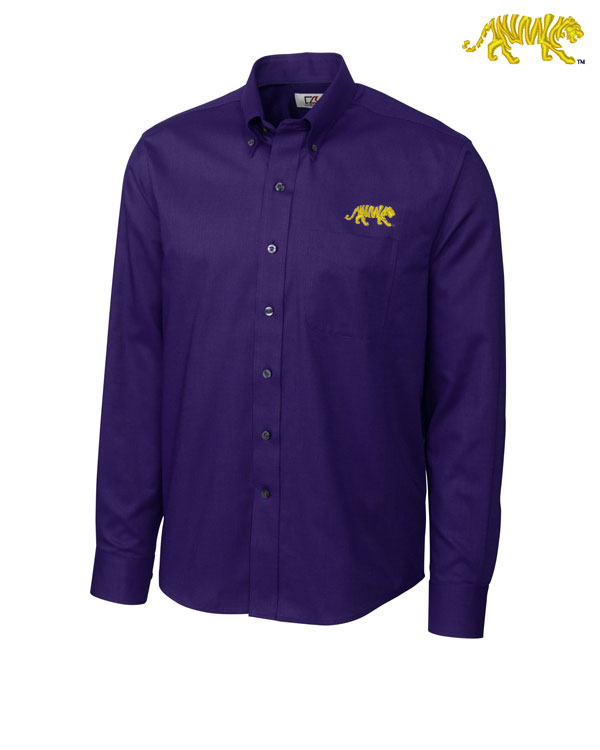Cutter & Buck LSU Tigers Silhouette Tiger Logo Button Dress Shirt - Purple