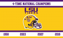 LSU Tigers Gold Silk Screened 3' x 5' 4-Time National Champion Flag