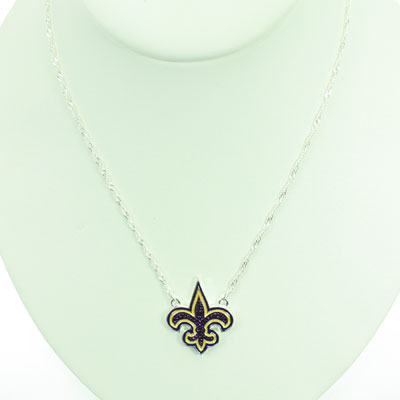 Game Day Purple and Gold Crystal Fleur de Lis Necklace