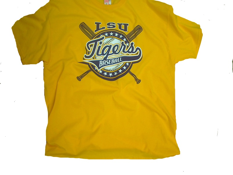LSU Tigers Cross Bats Baseball T-Shirt - Gold