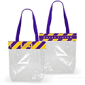 LSU New Stadium Tote with Grograin Ribbon Logo Trim - Clear