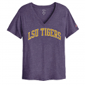 LSU Women's Heather Purple V-Neck League Tee