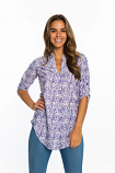 Game Day Women's Purple and White Tiger Three Quarter Sleeve Tunic