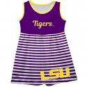 LSU Girl's Youth Purple & White Stripe Big Logo Tank Dress - size 10 only