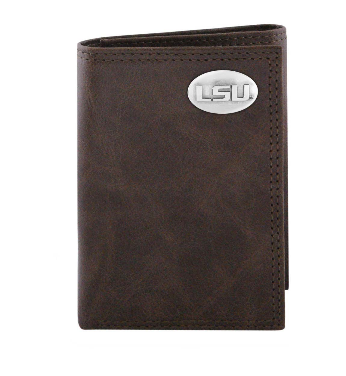 LSU Tigers Brown Wrinkle Trifold Wallet with Gun Metal Concho