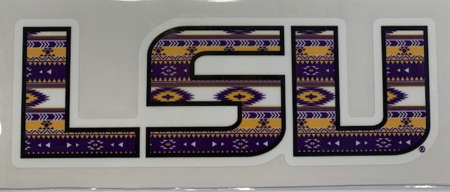 LSU Tigers Aztec Design Vinyl Decal 6""