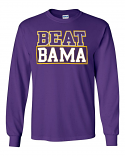 Bayou LSU Purple Unisex Long Sleeve Beat Bama Rivalry T-Shirt