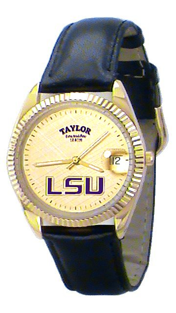 LSU Men's Classic Watch Black Leather Band with Gold Face Purple LSU Custom Made by Taylor Watches