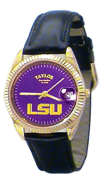 LSU Men's Classic Watch Black Leather Band with Purple Face Gold LSU Custom Made by Taylor Watches