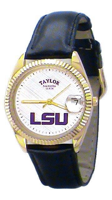 LSU Men's Classic Watch Black Leather Band with White Face Purple LSU Custom Made by Taylor Watches