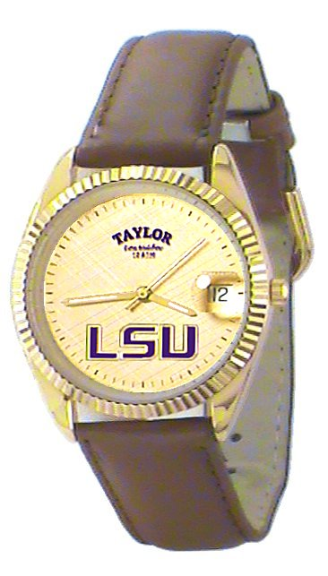 LSU Men's Classic Watch Brown Leather Band with Gold Face Purple LSU Custom Made by Taylor Watches