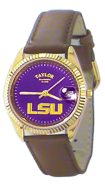 LSU Men's Classic Watch Brown Leather Band with Purple Face Gold LSU Custom Made by Taylor Watches