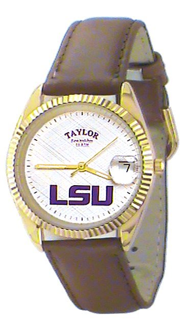 LSU Men's Classic Watch Brown Leather Band with White Face Purple LSU Custom Made by Taylor Watches