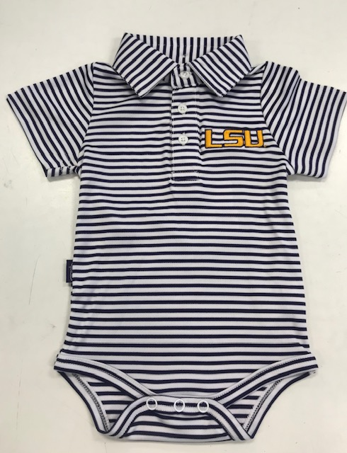 LSU Boy's Infant Striped Carson Polo Onesie - Purple and White