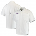 Columbia LSU Tigers Men's Tamiami Short Sleeve Performance Shirt - White