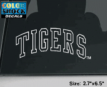 Color Shock LSU Tigers White Outline Decal 2.7 x 6.5""
